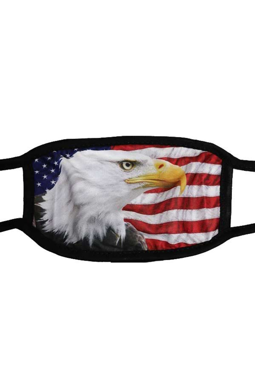 Stand alone flat view of USA American Eagle Face Mask