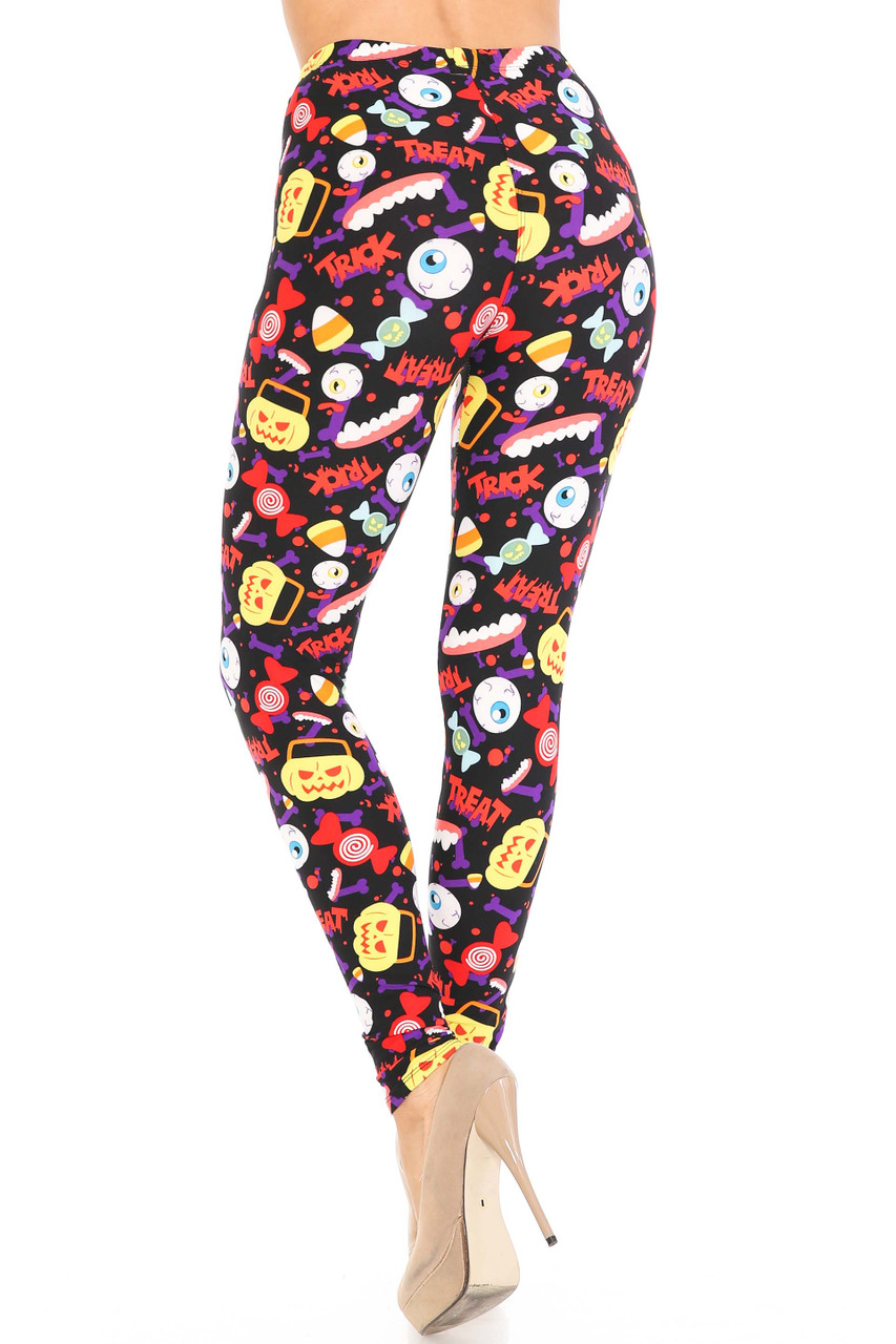 Rear view of Buttery Soft Everything Trick or Treat Plus Size Leggings