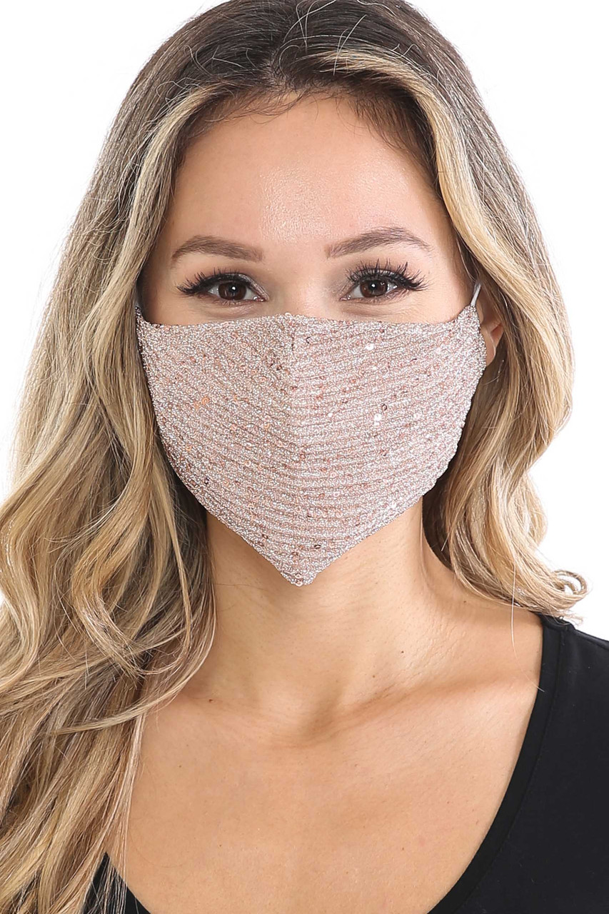 Front of Rose Gold Dainty Sequin Fashion Face Masks