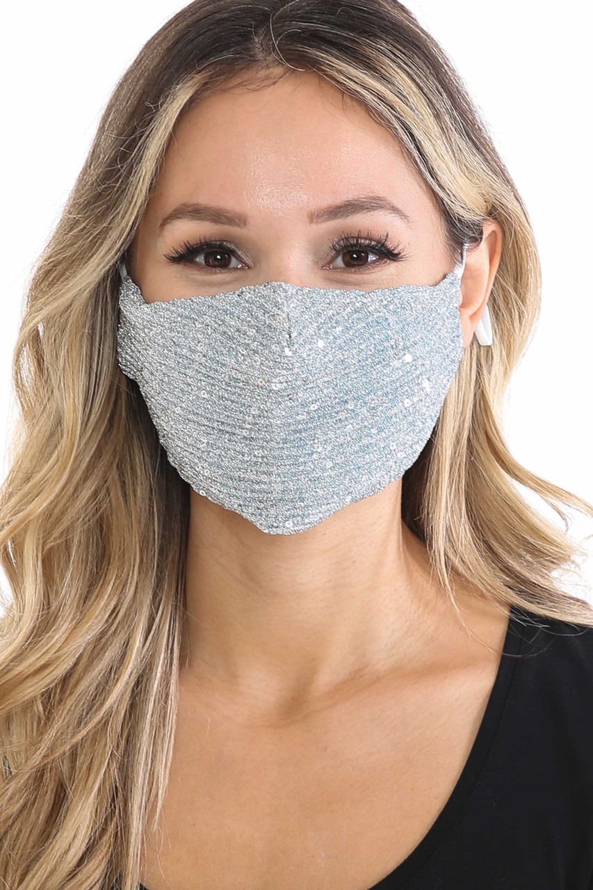 Front of Silver Dainty Sequin Fashion Face Masks