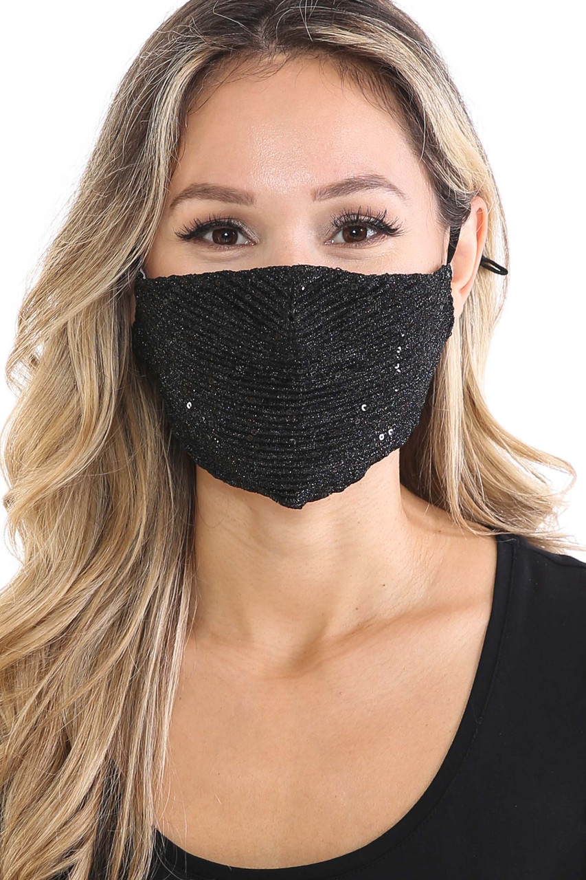Front of Black Dainty Sequin Fashion Face Masks