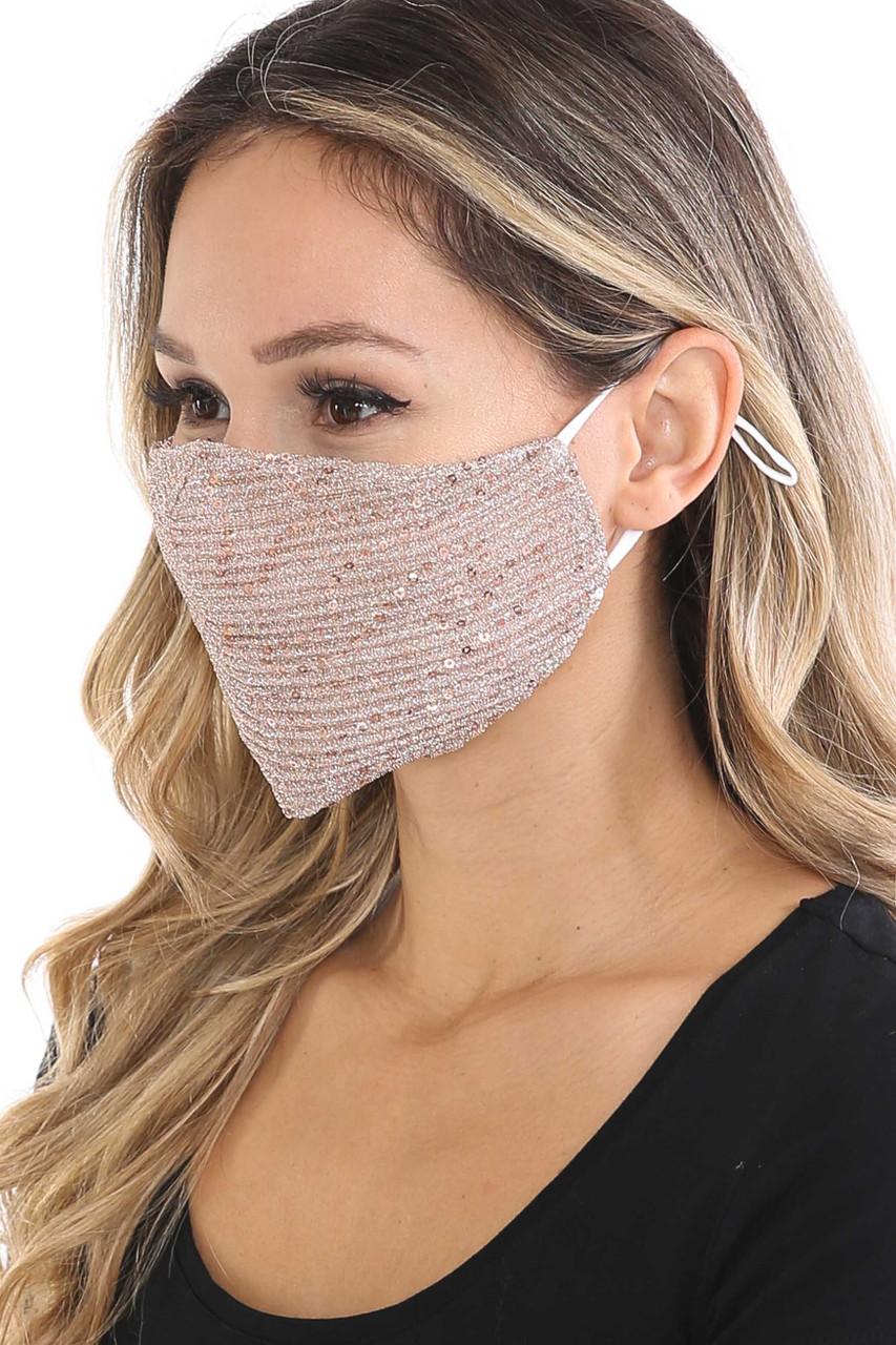 Left side of Rose Gold Dainty Sequin Fashion Face Masks