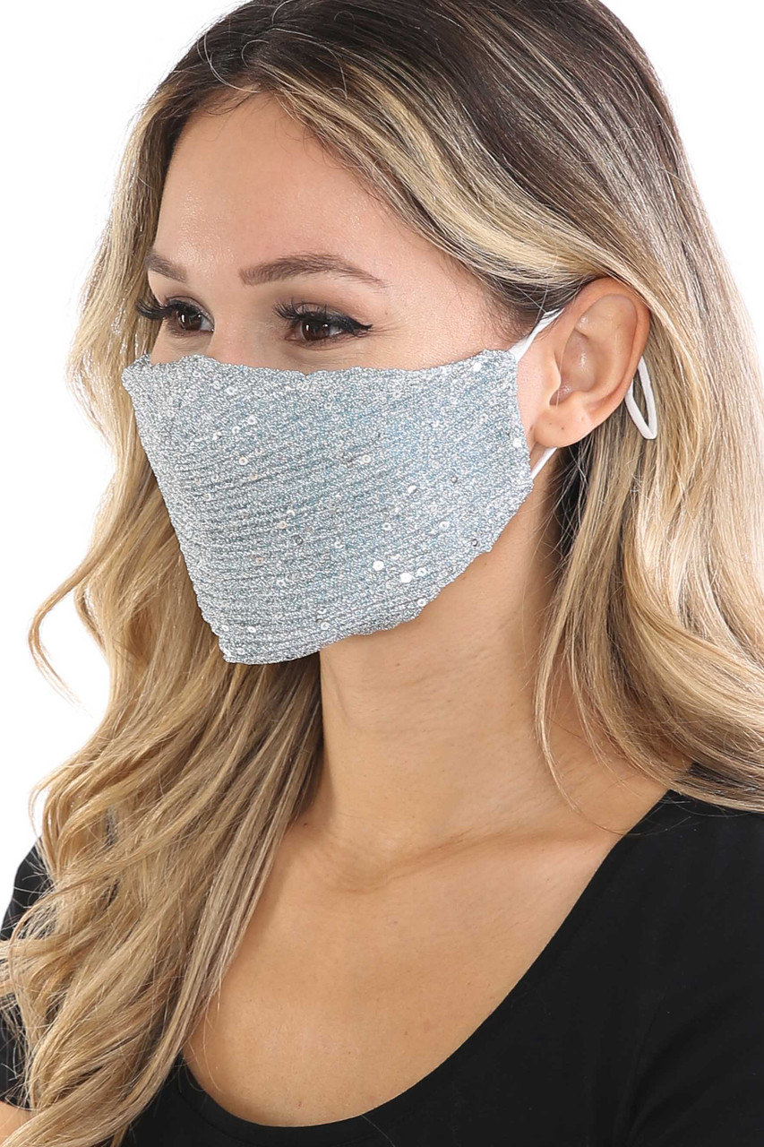 Left side of Silver Dainty Sequin Fashion Face Masks