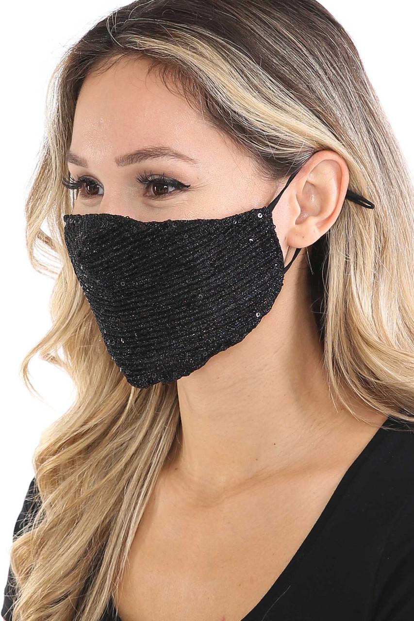 Left side of Black Dainty Sequin Fashion Face Masks