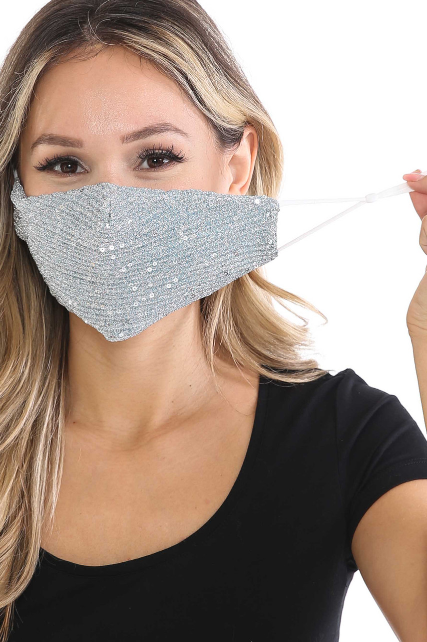 Front of Silver Dainty Sequin Fashion Face Masks showing off adjustable ear strings.
