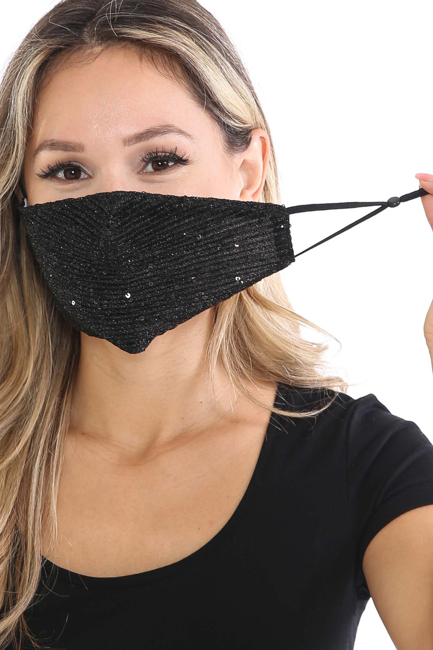 Front of Black Dainty Sequin Fashion Face Masks showing off adjustable ear strings.