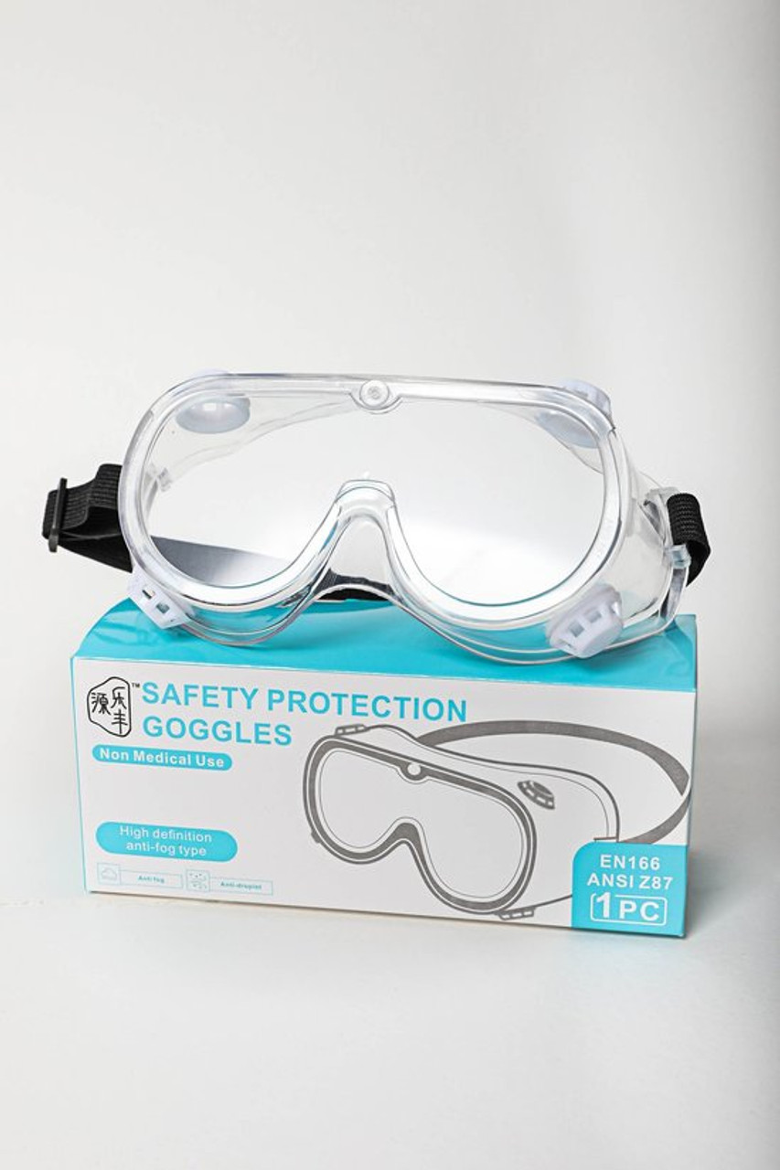 Front image of Protective Goggles shown with packaging.