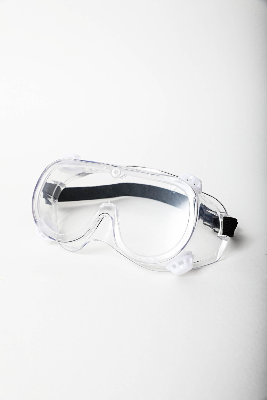Stand alone image of clear Protective Goggles with a black adjustable band.