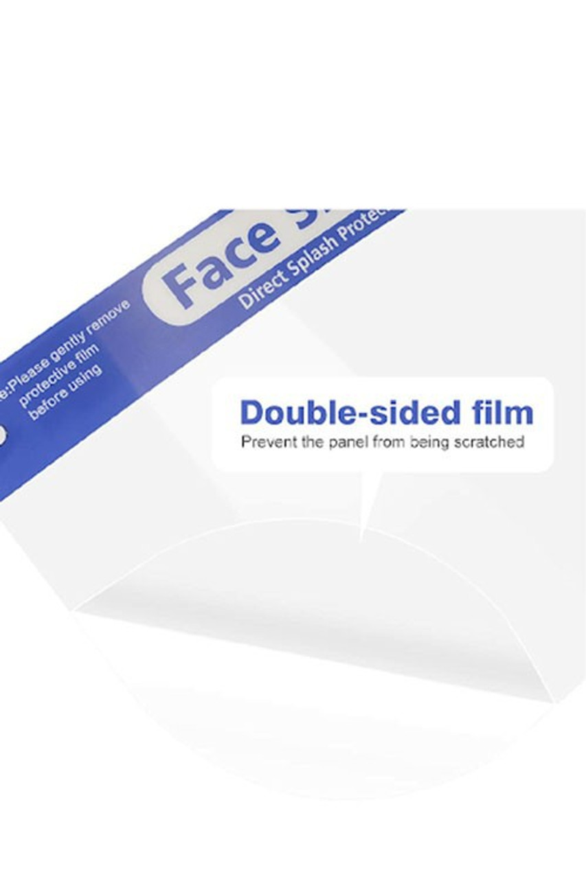 Image highlighting double sided film on Protective Face Shields - Anti Splash Film with Elastic Band and Comfort Sponge - 5 Pack