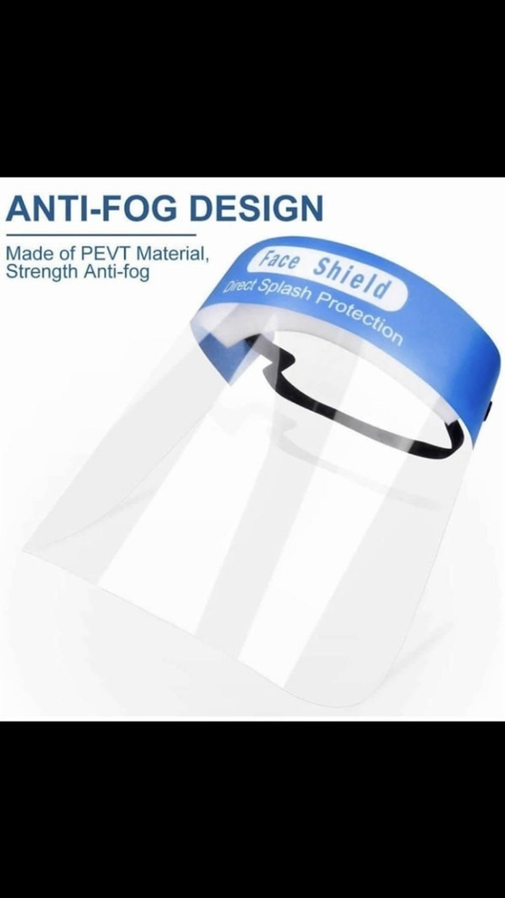 Image highlighting the anti-fog design of Protective Face Shields - Anti Splash Film with Elastic Band and Comfort Sponge - 5 Pack