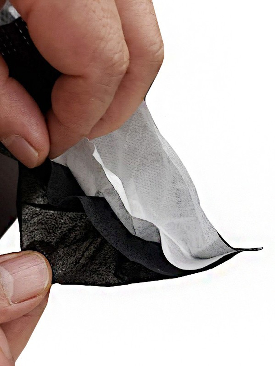 Close up of inner layer of Black Disposable Surgical Face Mask - 50 Pack