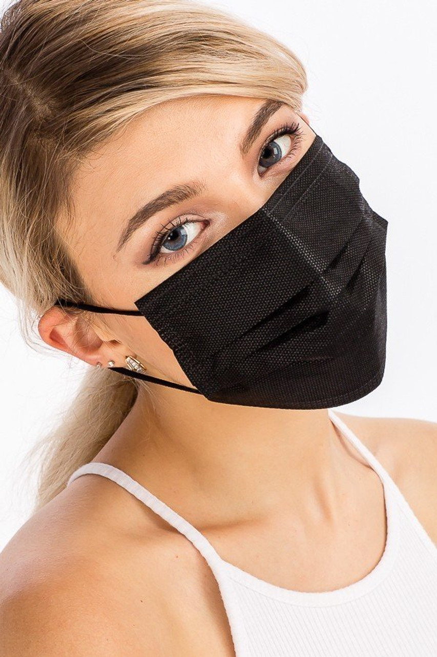 Right view of Black Disposable Surgical Face Mask - 50 Pack