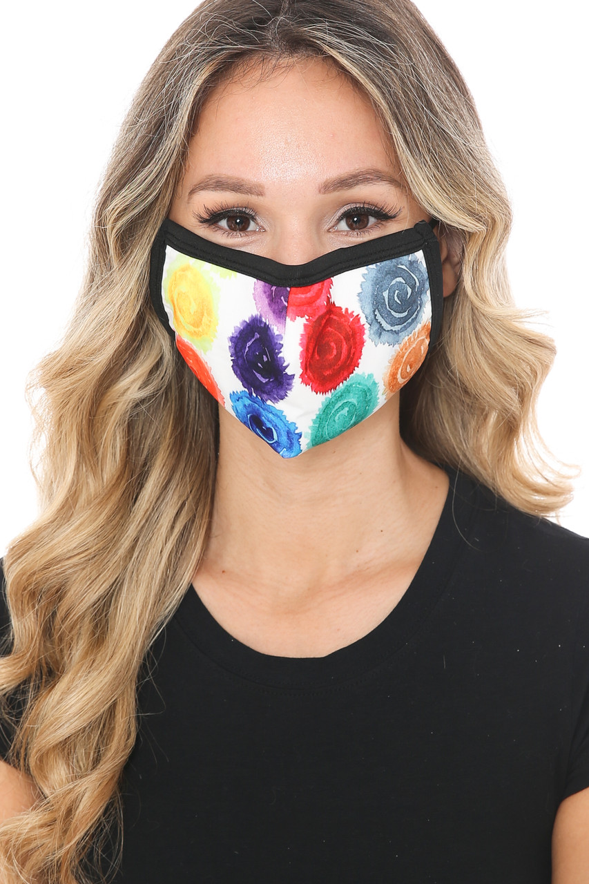 Front view of Colorful Rose Graphic Print Face Mask with a fabulous rainbow flower design.