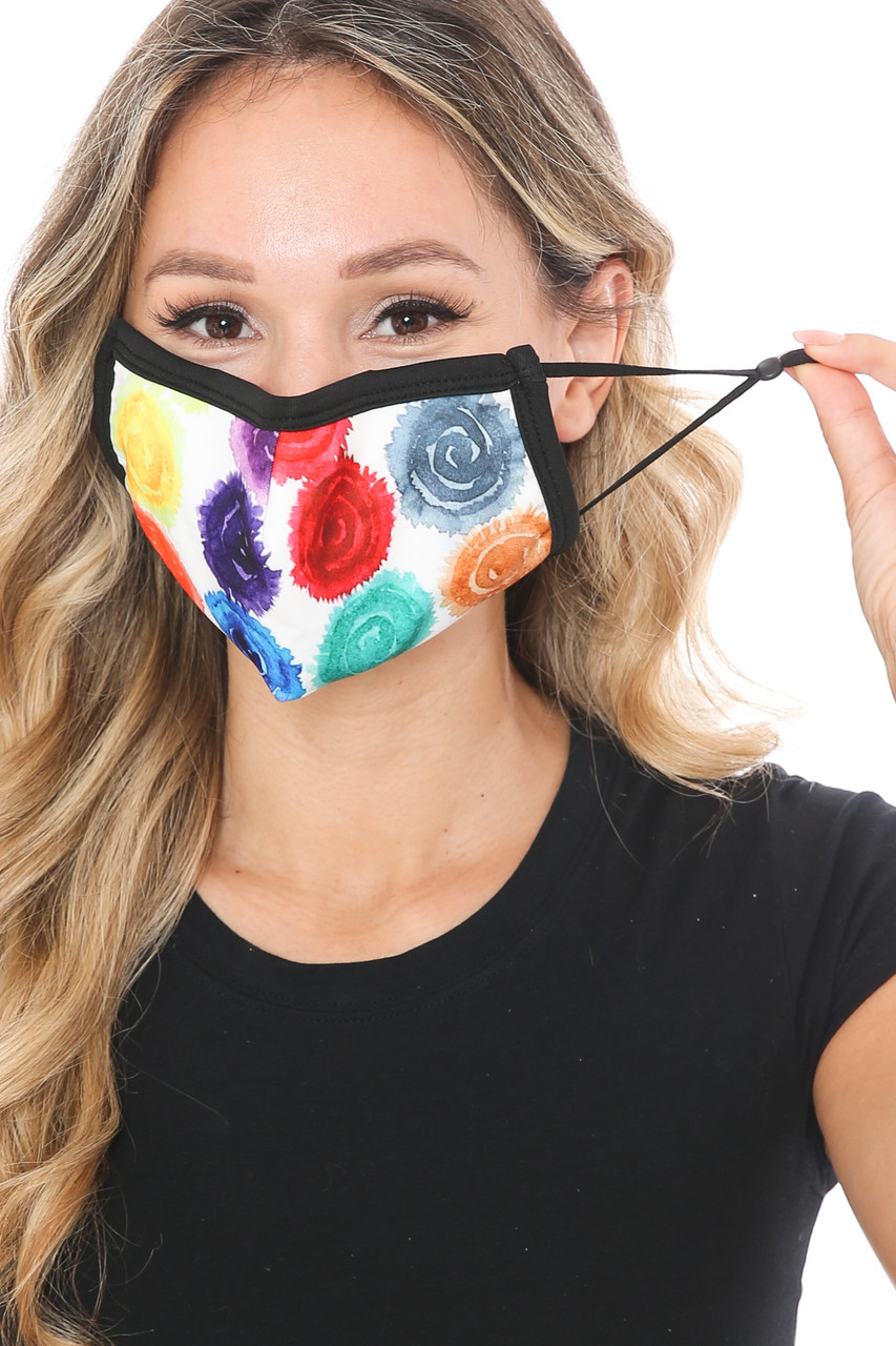 Front view of Colorful Rose Graphic Print Face Mask showing off adjustable ear strings.