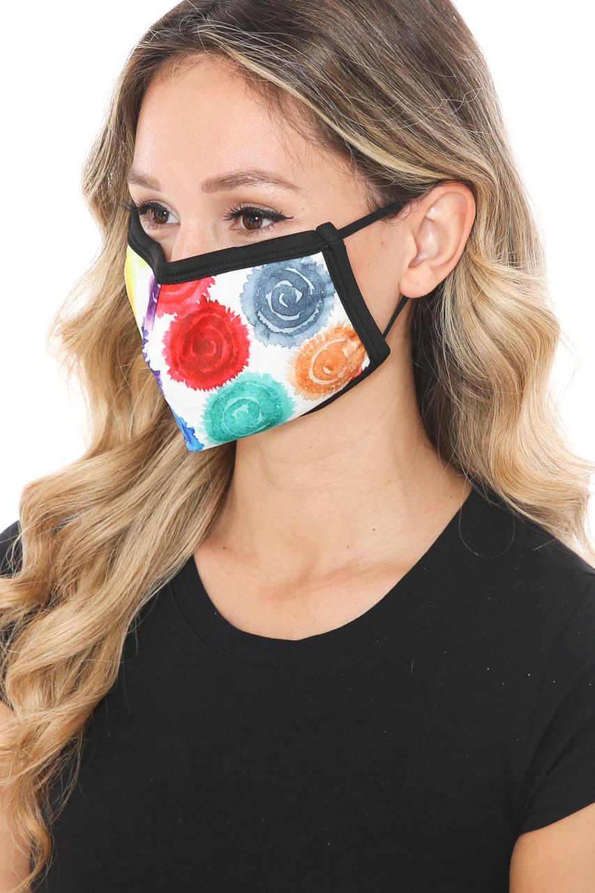 Left side view of Colorful Rose Graphic Print Face Mask