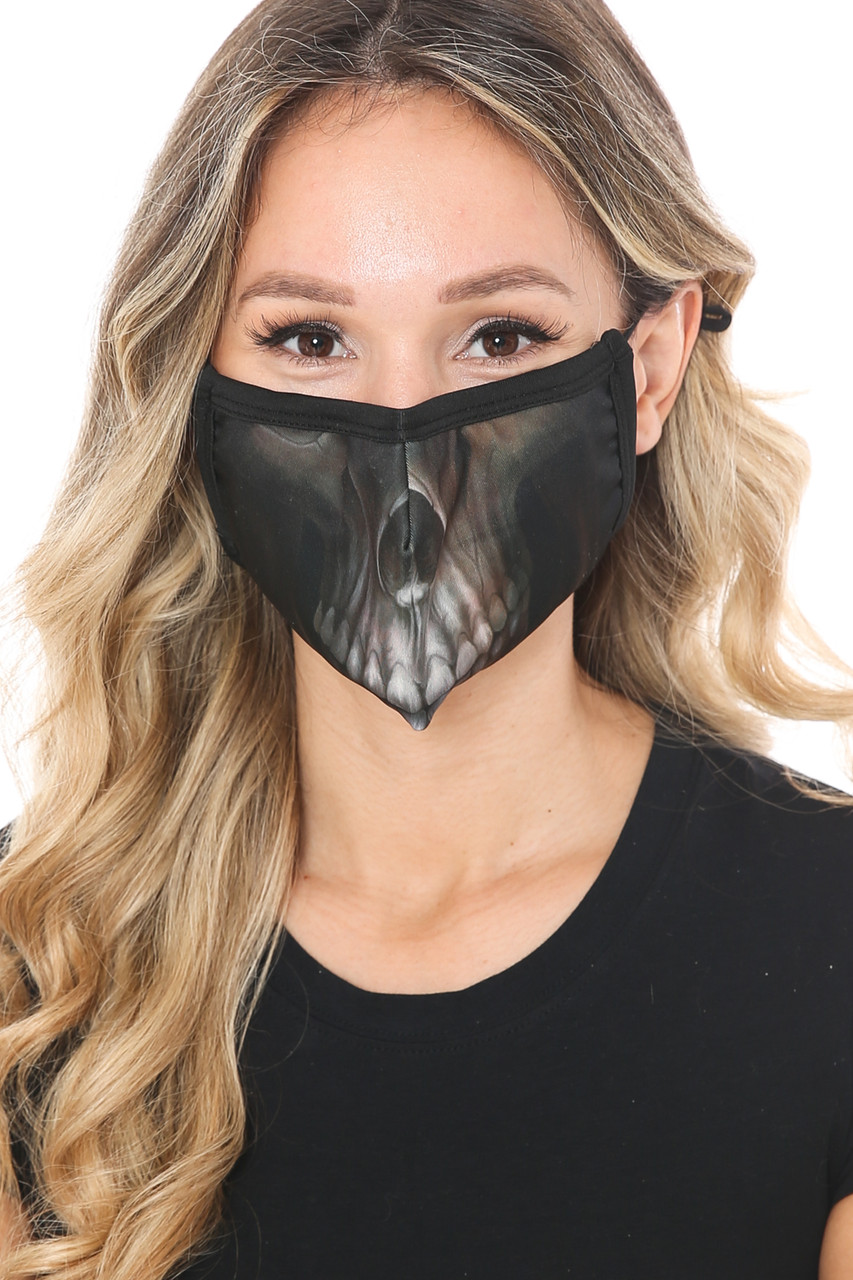 Front view of Dark Skull Graphic Print Face Mask featuring a skeleton mouth and nose design perfect for halloween or edgy every day looks.
