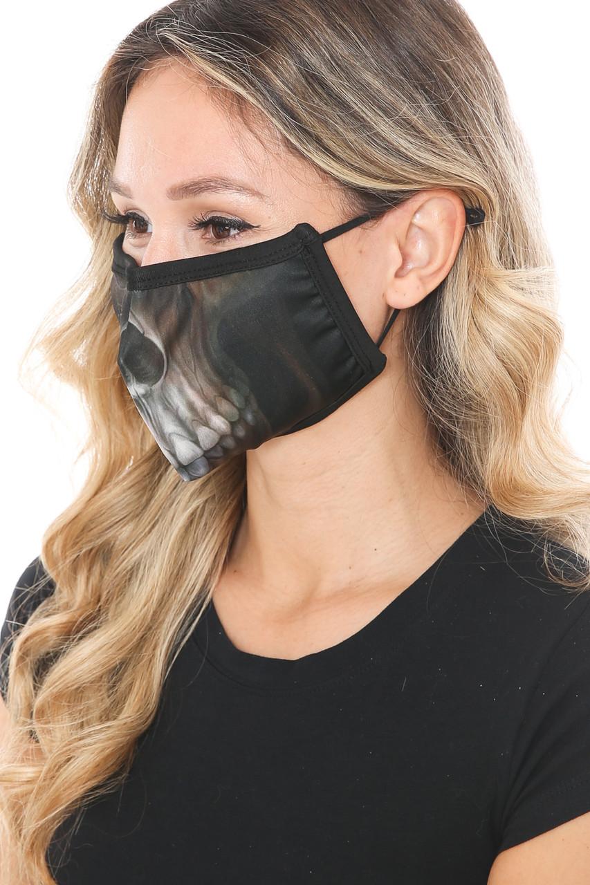 Left side view of Dark Skull Graphic Print Face Mask