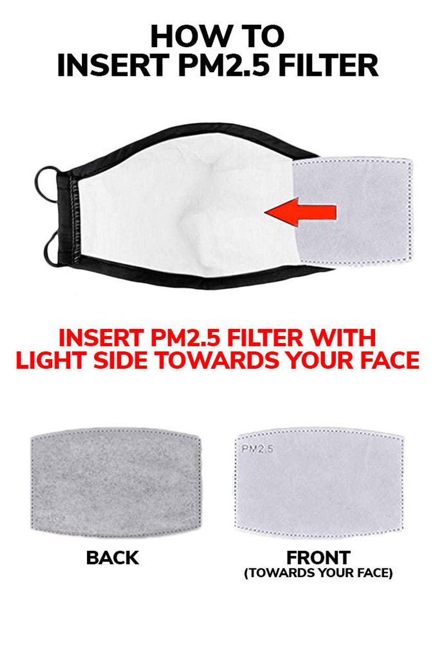 Image illustrating how to insert a PM2.5 filter into rear pocket of Dark Skull Graphic Print Face Mask with light side toward your face.