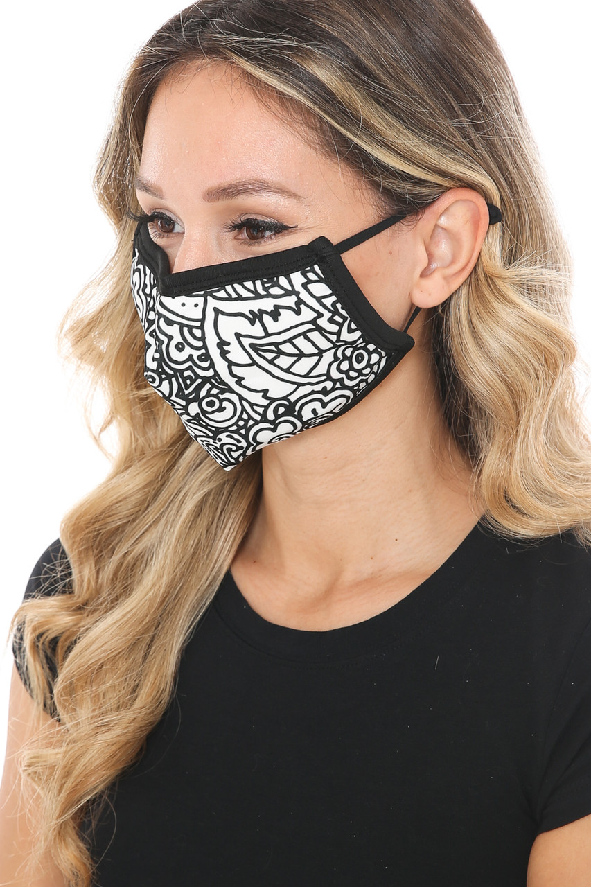 Left side view of Black and White Floral Face Mask