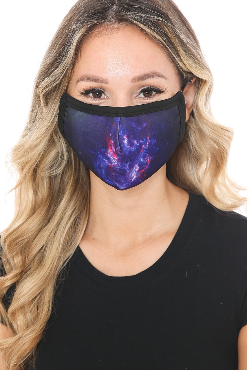 Front view of Mystic Galaxy Graphic Print Face Mask with a gorgeous violet space design.