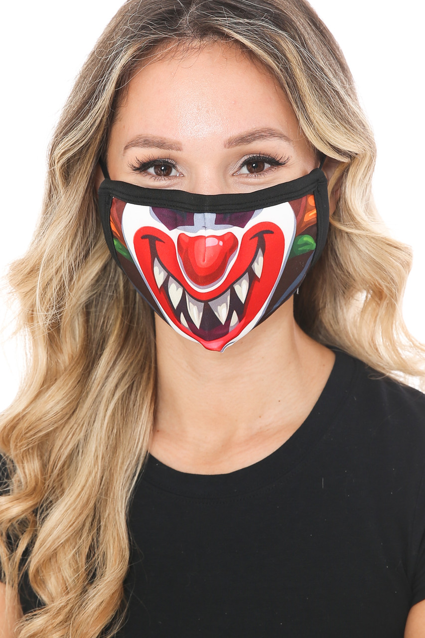Front view of Evil Clown Graphic Print Face Mask with an amazing clown mouth and nose design.