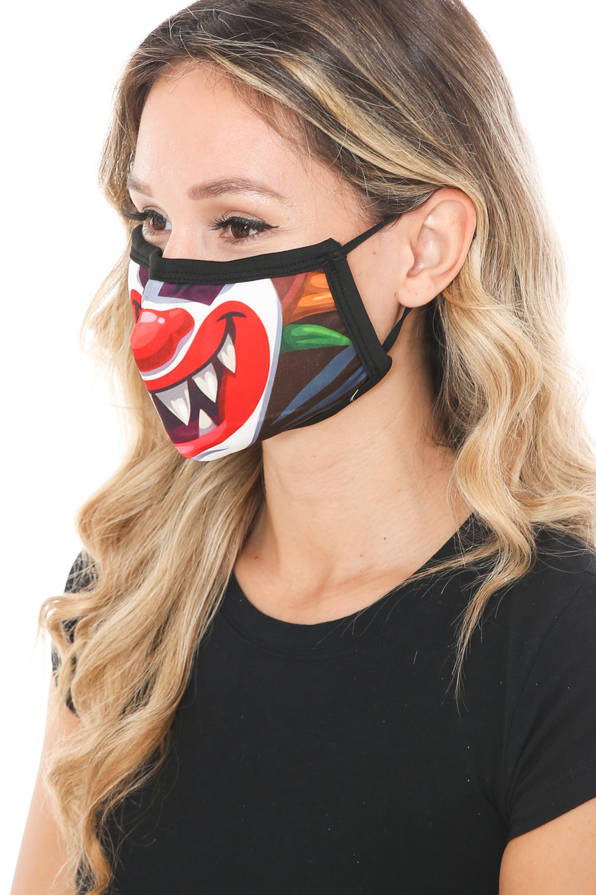 Left side view of Evil Clown Graphic Print Face Mask