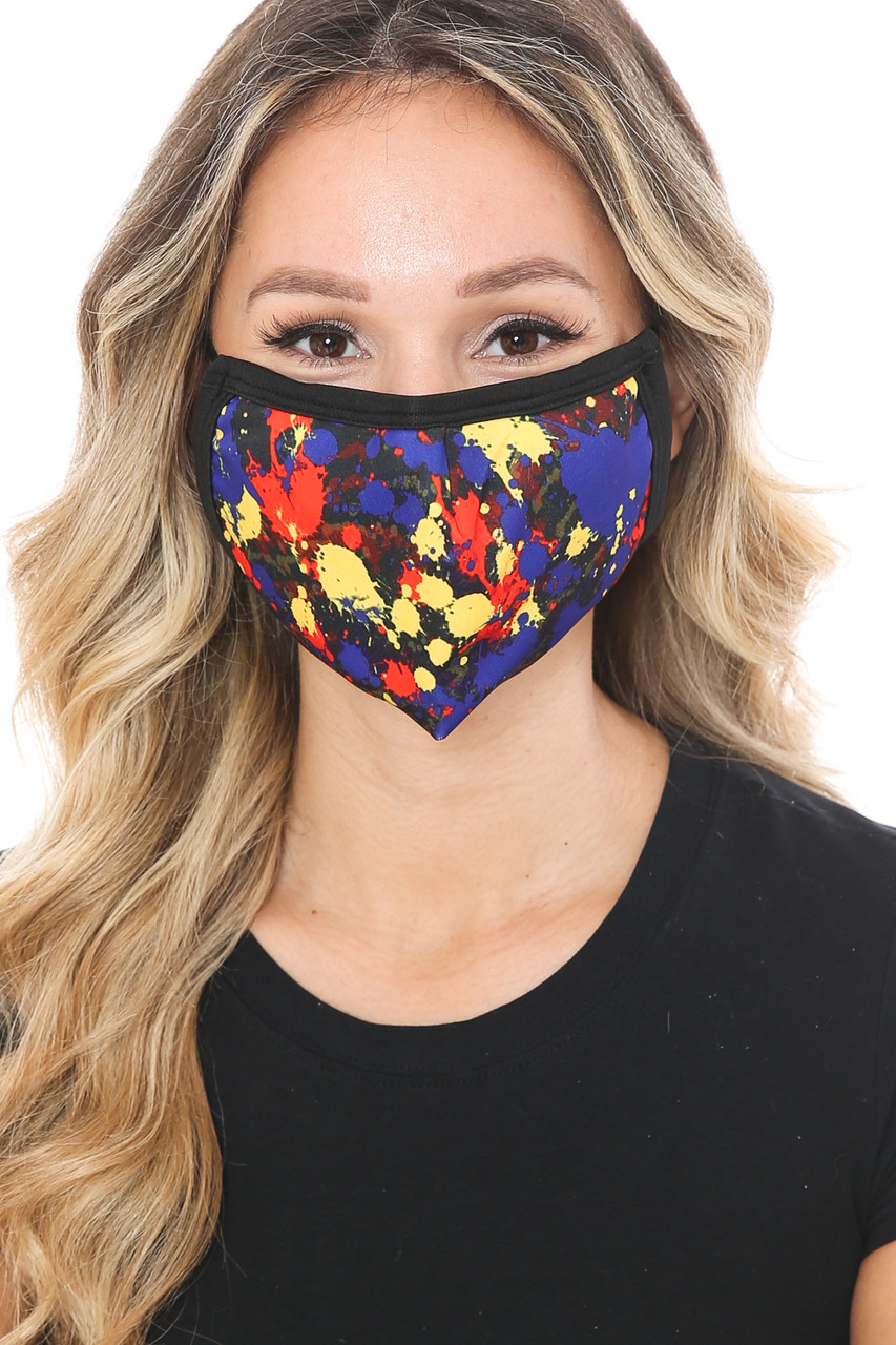 Front view of Splatter Paint Graphic Print Face Mask with a cool abstract art look.