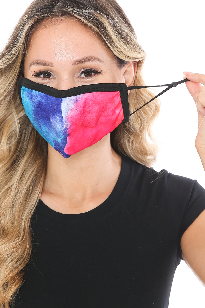 Front view of Split Tie Dye Graphic Print Fashion Face Mask showing adjustable ear strings.