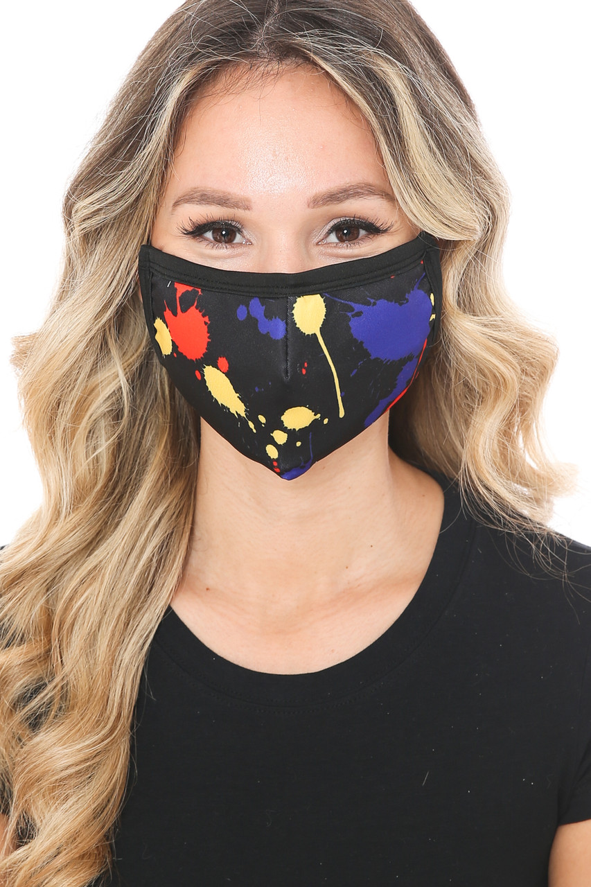 Front view of Black Splatter Paint Graphic Print Face Mask with a cool abstract art design.