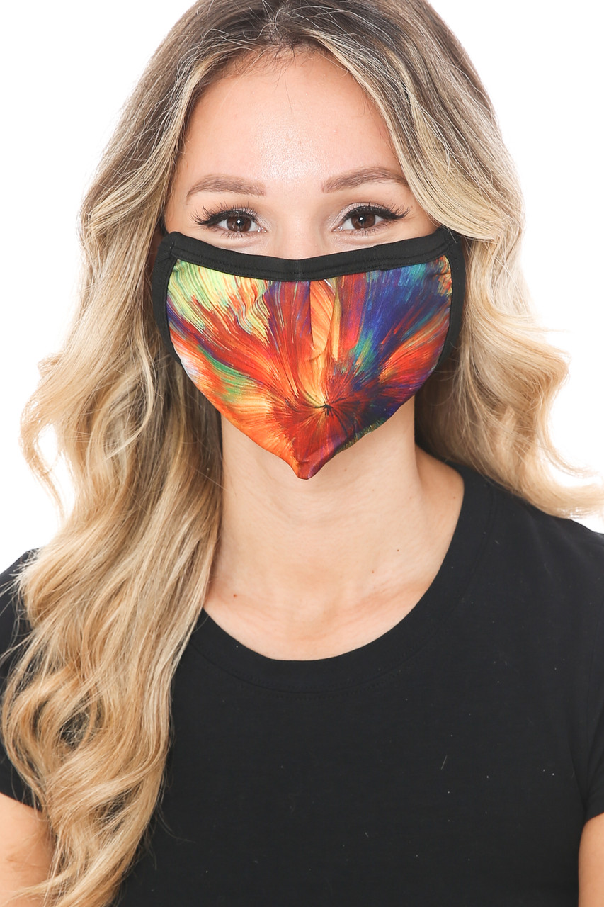 Front view of Colorful Brush Stroke Graphic Print Face Mask featuring a colorful swirl of paint design.
