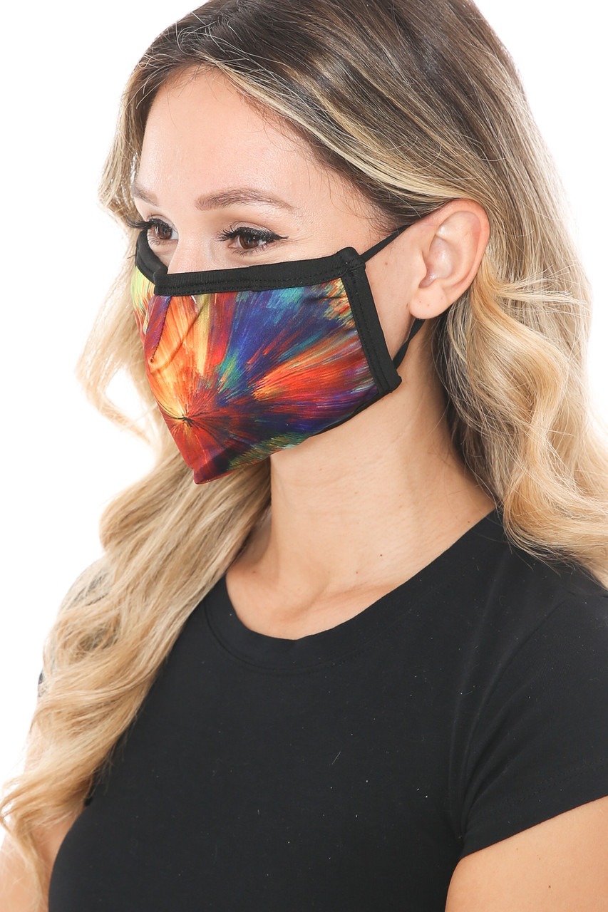 Left side view of Colorful Brush Stroke Graphic Print Face Mask