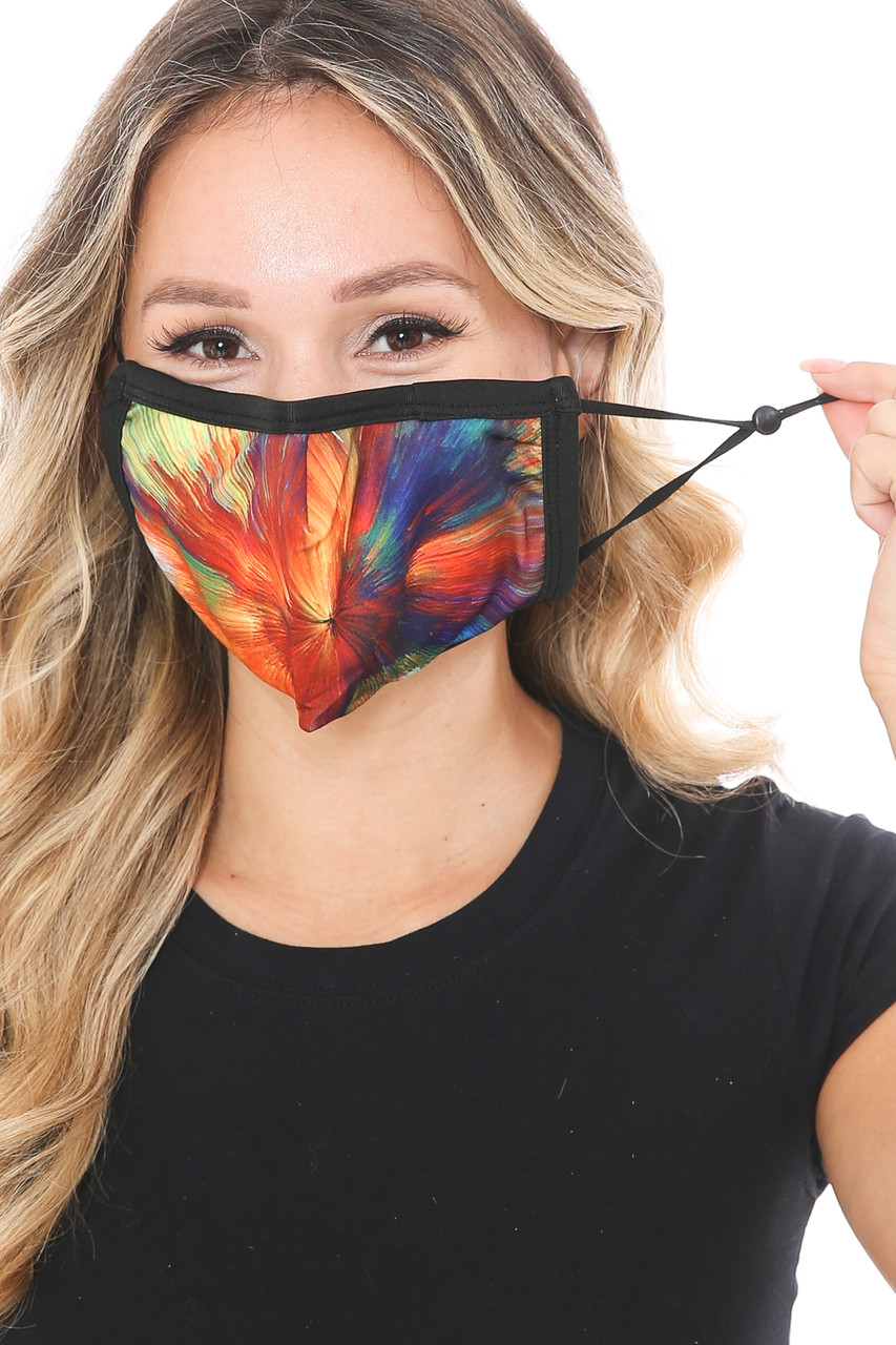 Front view of Colorful Brush Stroke Graphic Print Face Mask showing off adjustable ear strings.