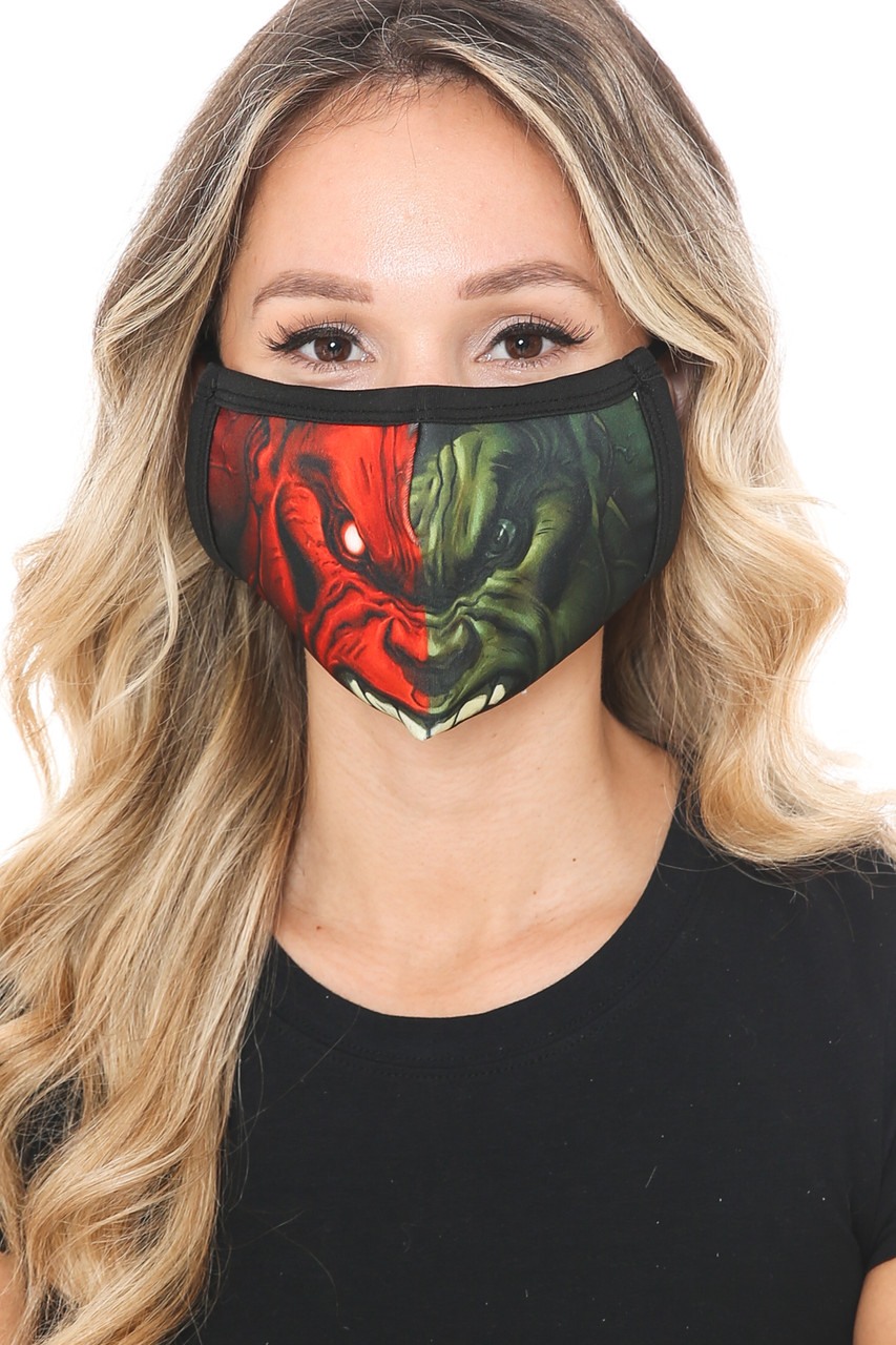 Front view of Split Hulk Graphic Print Face Mask featuring a half red half green design of the Hulk's face.