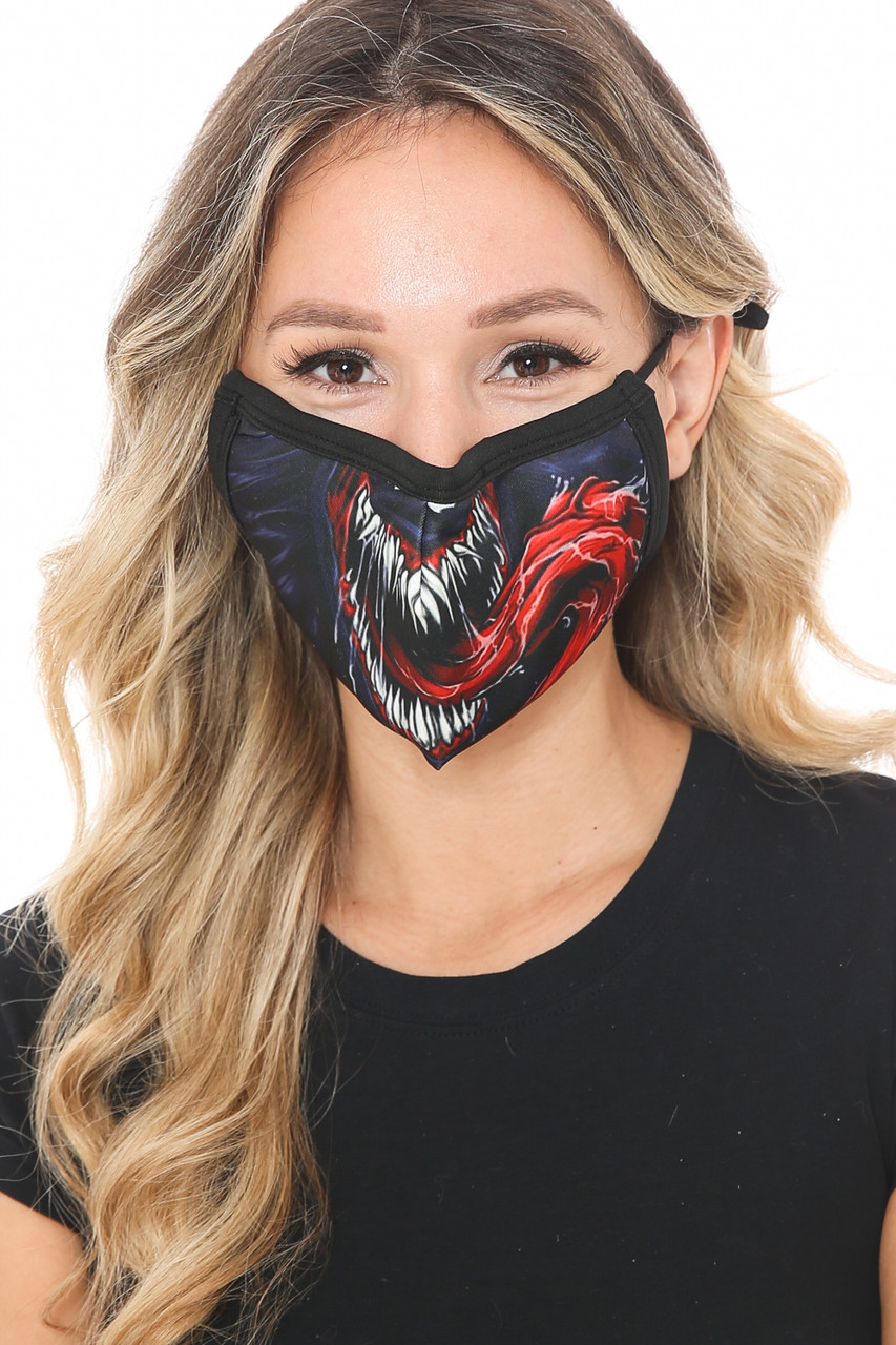 Front view of Venom Fangs Graphic Print Face Mask featuring a cool fang filled mouth print.