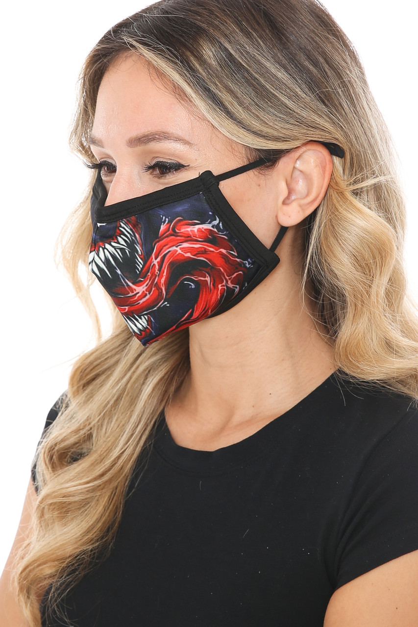 Left side view of Venom Fangs Graphic Print Face Mask