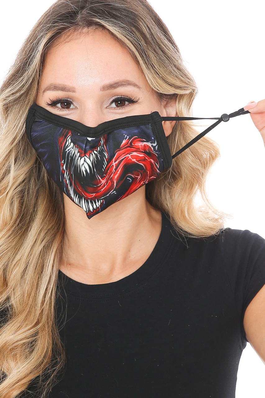 Front view of Venom Fangs Graphic Print Face Mask showing off adjustable ear strings.