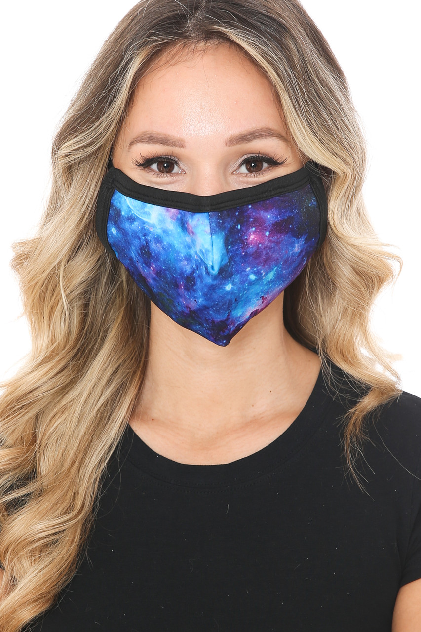 Front view of Blue Galaxy Graphic Print Face Mask with a gorgeous space design.