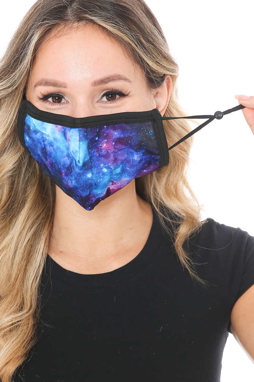 Front view of Blue Galaxy Graphic Print Face Mask showing off adjustable ear strings.