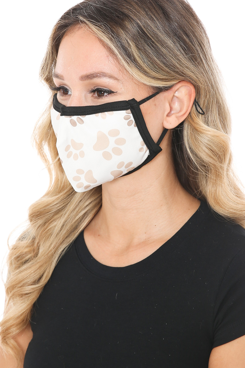 Left side view of Pretty Paws Graphic Print Face Mask