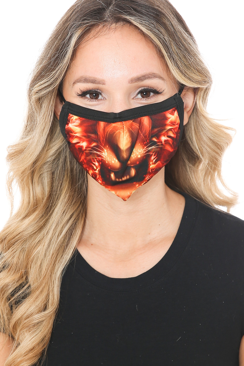 Front view of Lion Flame Graphic Print Face Mask featuring a fiery animal face design.