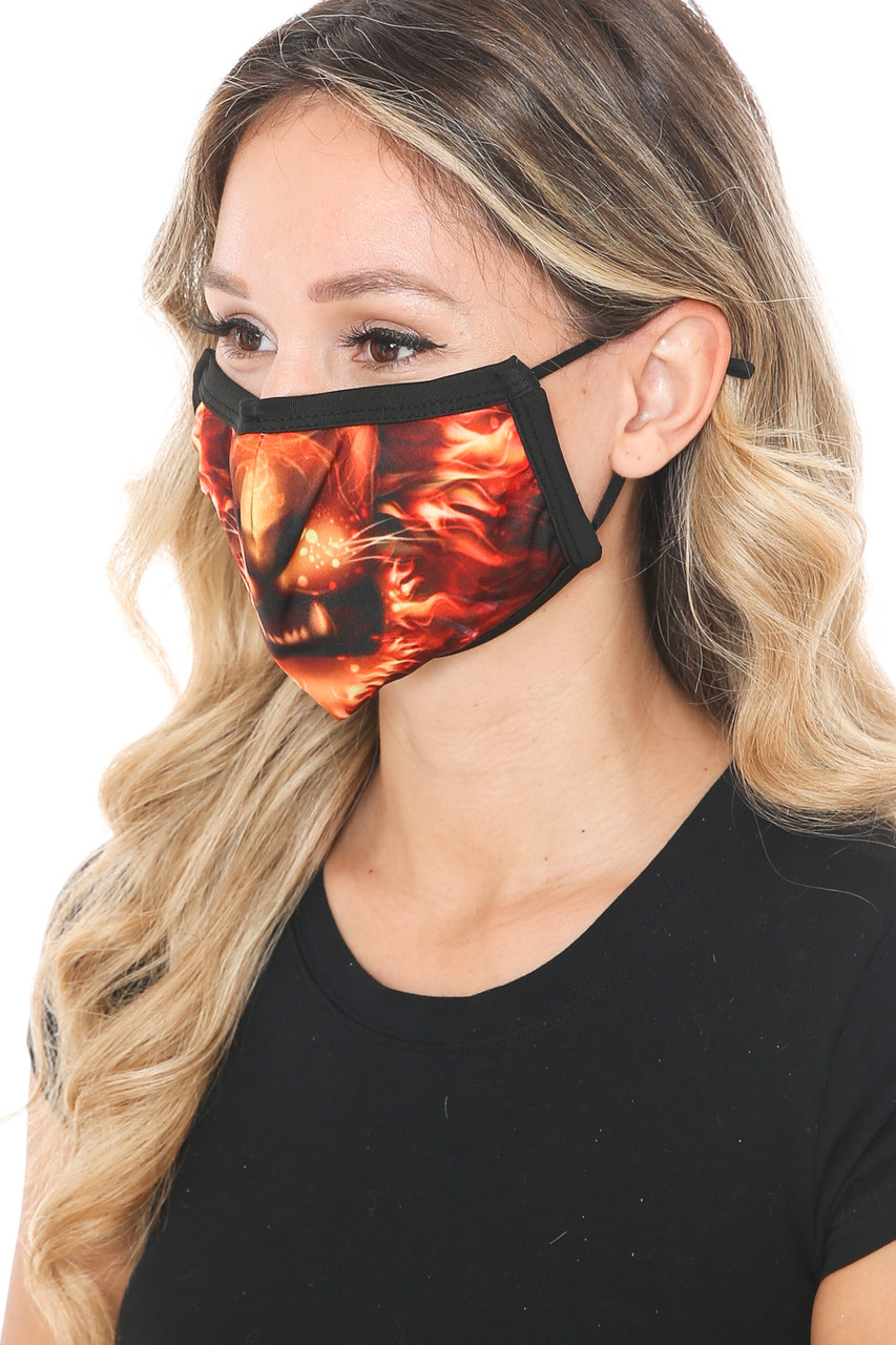 Left side view of Lion Flame Graphic Print Face Mask