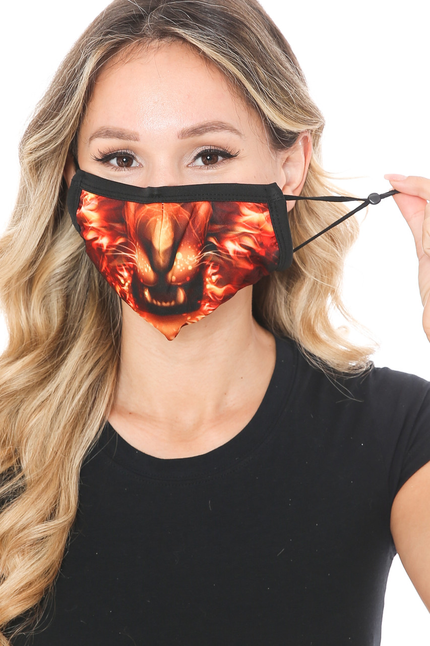 Front view of Lion Flame Graphic Print Face Mask with adjustable ear strings.