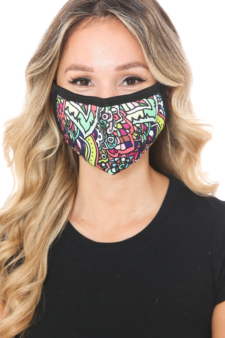 Front view of Artistic Floral Graphic Print Face Mask showcasing a colorful flower design.