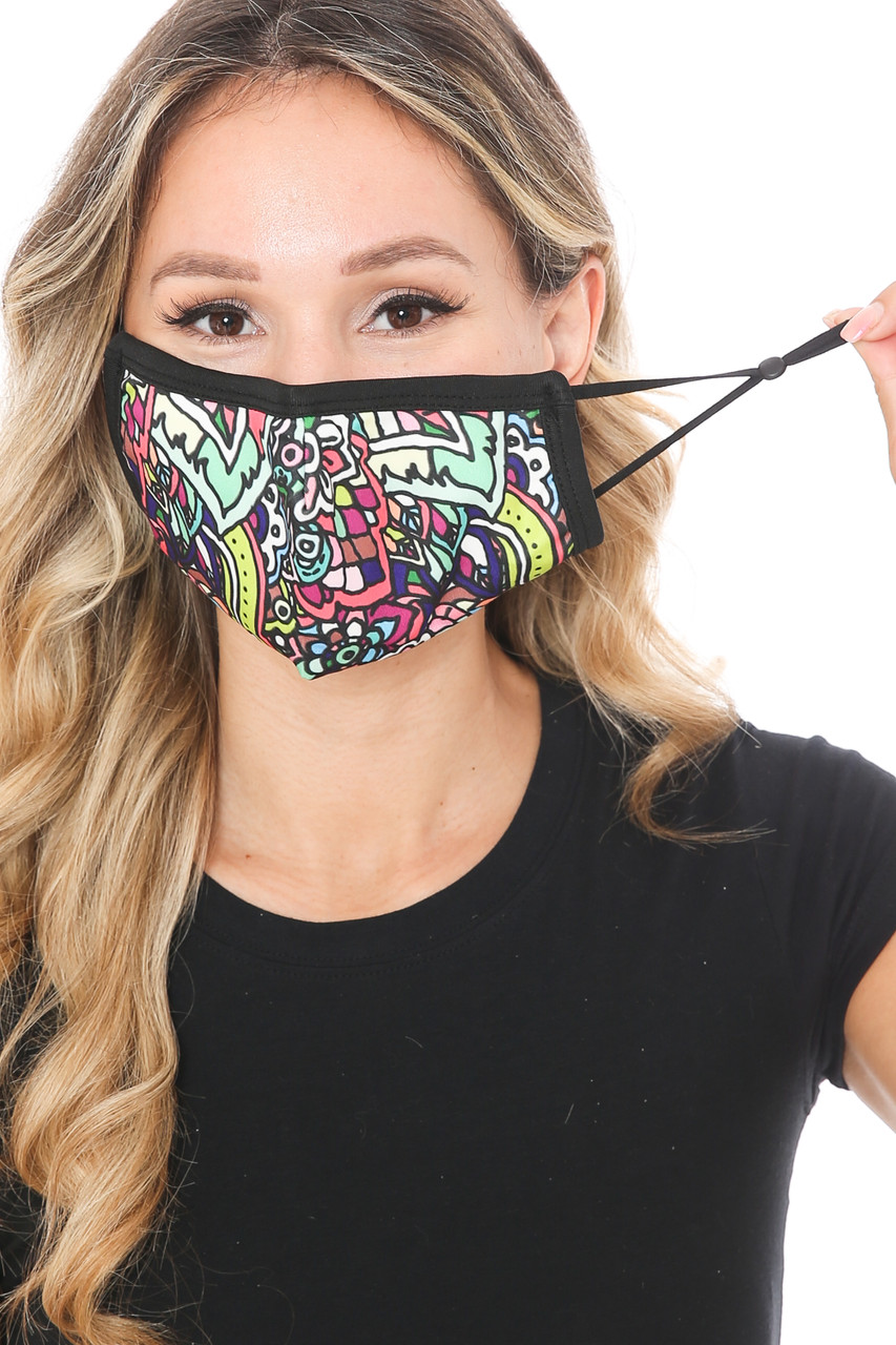 Front view of Artistic Floral Graphic Print Face Mask showing adjustable ear strings.