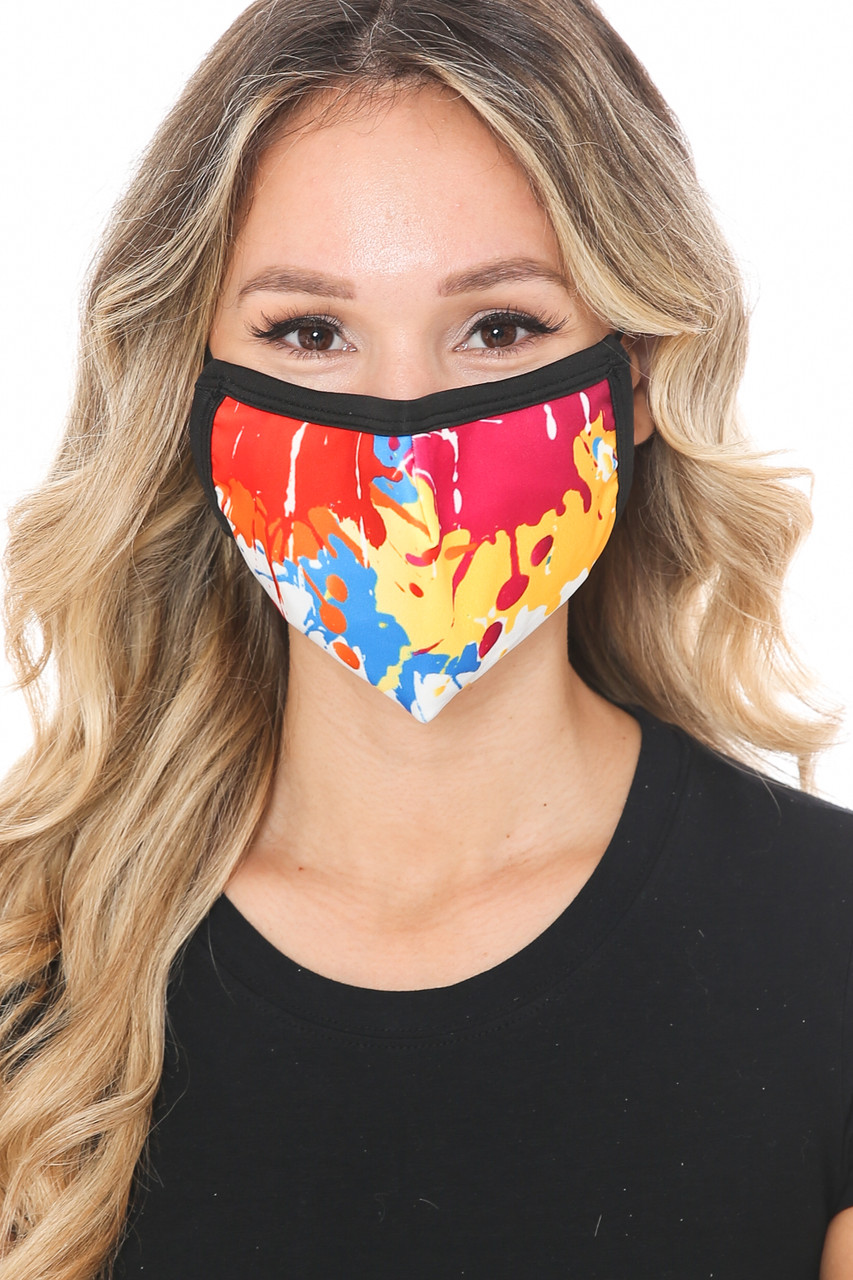 Front view of Colorful Paint Graphic Print Face Mask with a colorful splatter art  look.