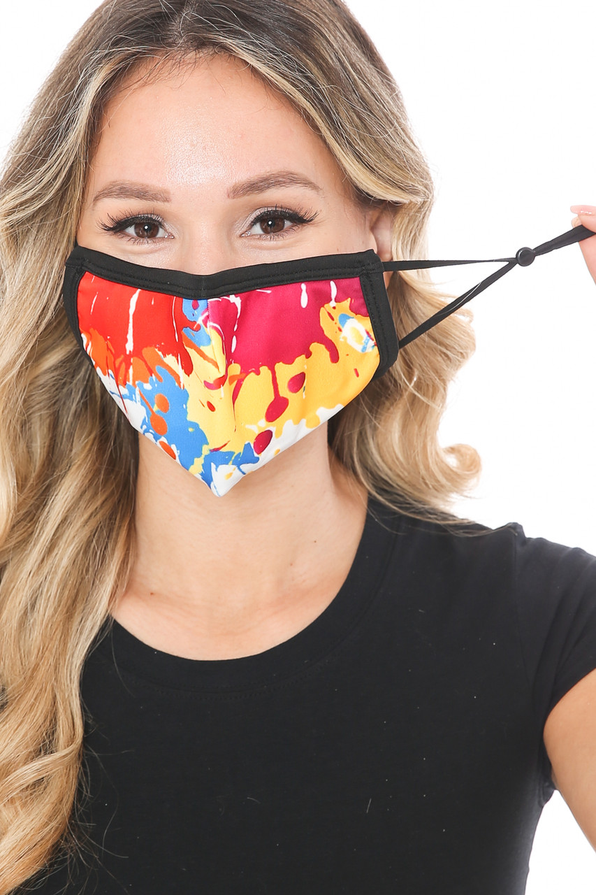 Front view of Colorful Paint Graphic Print Face Mask showing off adjustable ear strings.