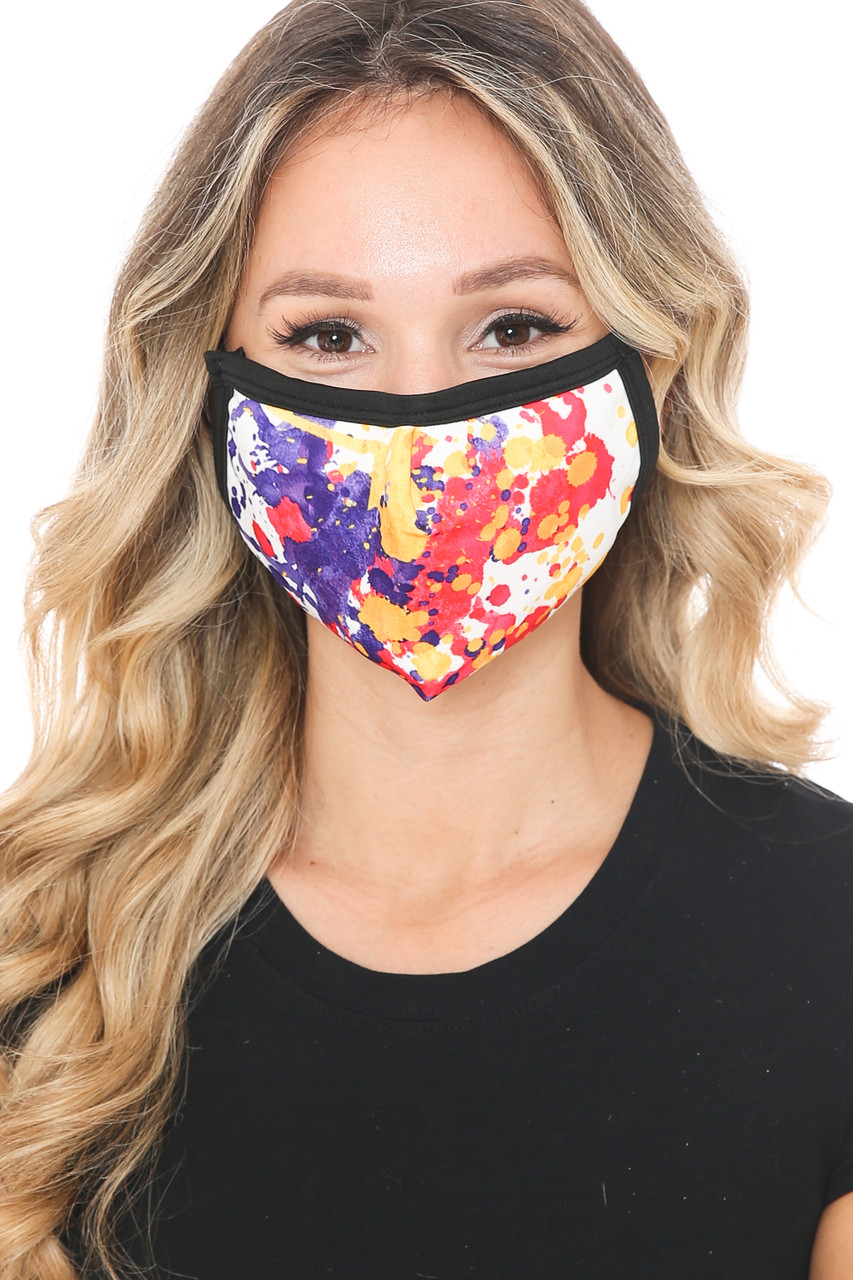 Front view of Paint Splat Graphic Print Face Mask with a fabulous abstract art design.