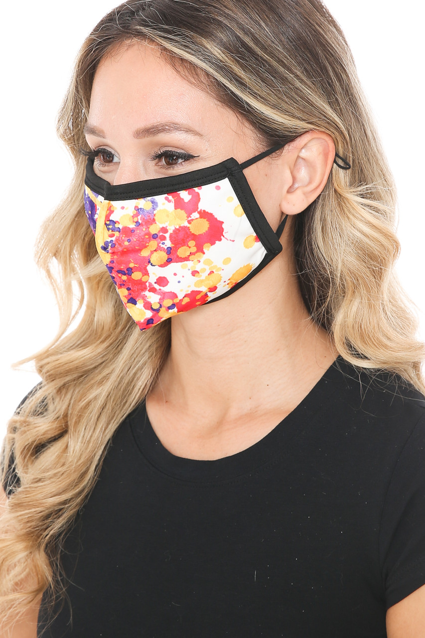Left side view of Paint Splat Graphic Print Face Mask