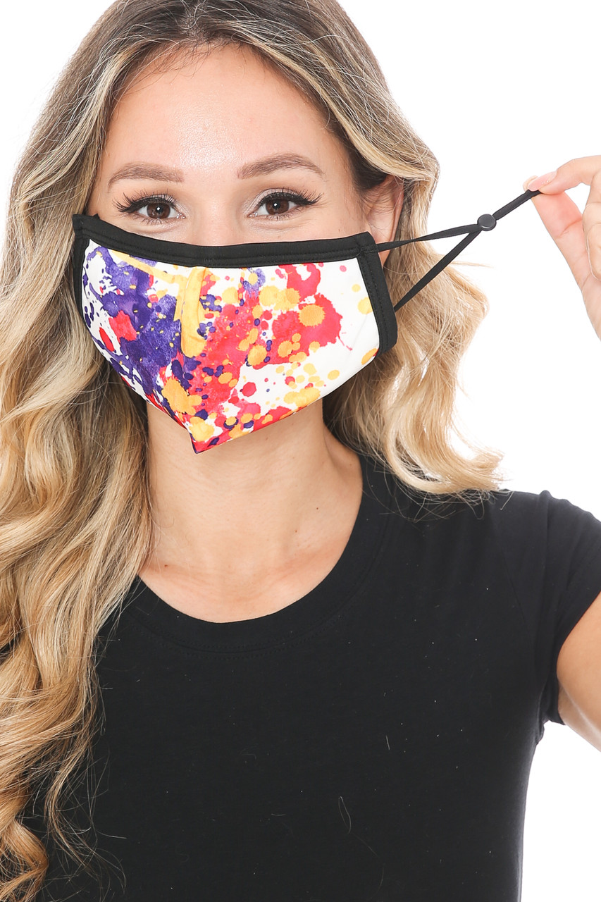 Front view of Paint Splat Graphic Print Face Mask with adjustable ear strings.