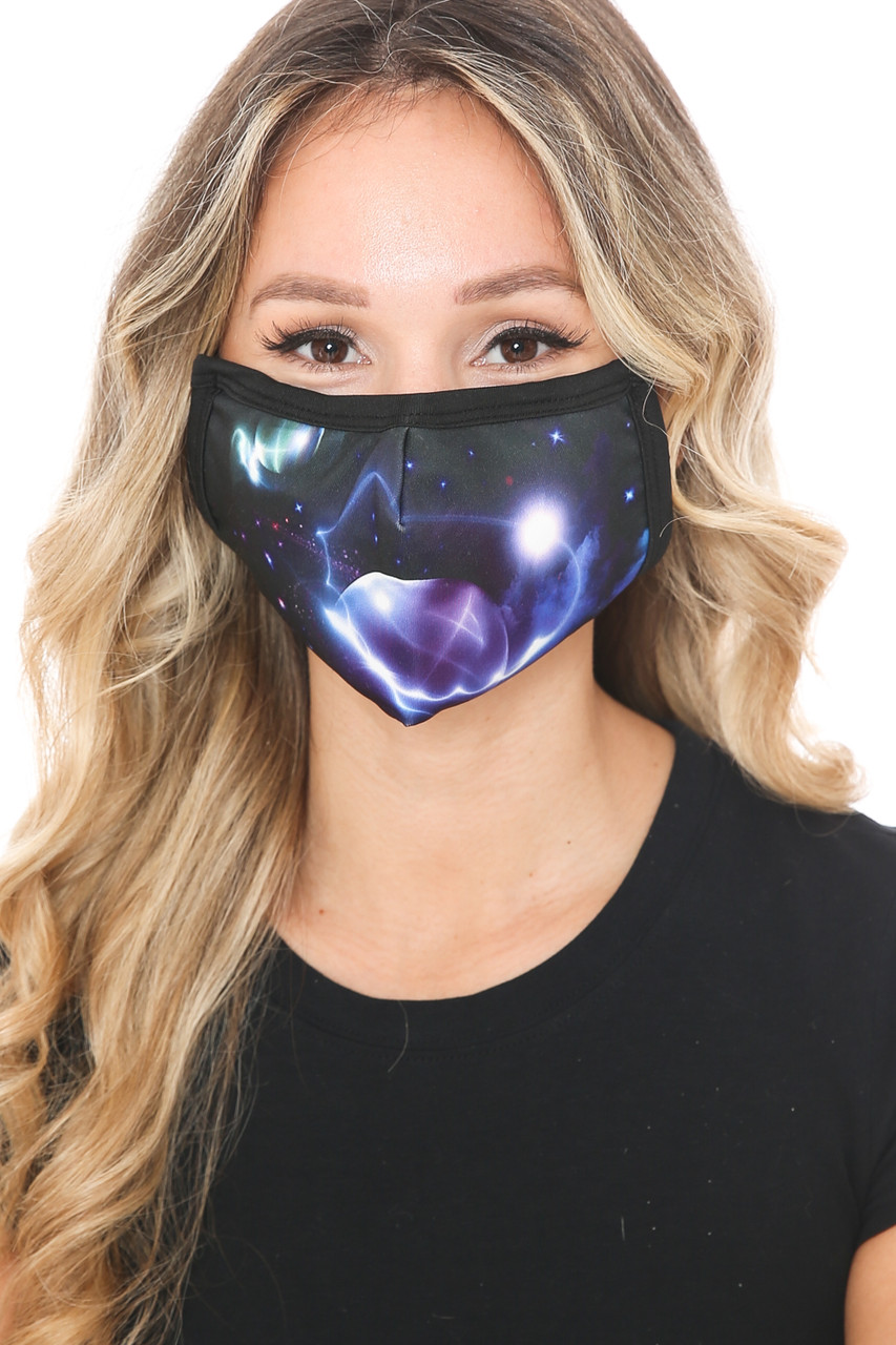 Front view of Galactic Flare Graphic Print Face Mask with an amazing black and blue space deign.